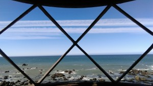 View out to see from inside a lighthouse